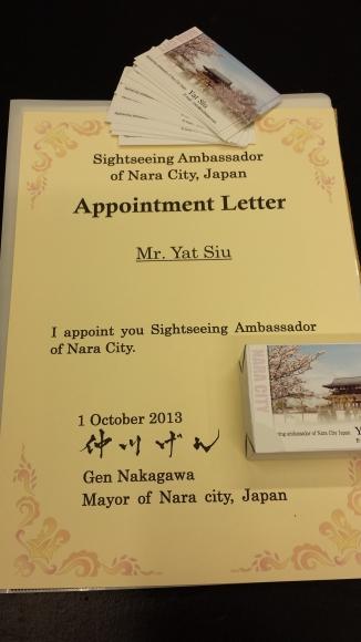 Tourism Ambassador for the City of Nara