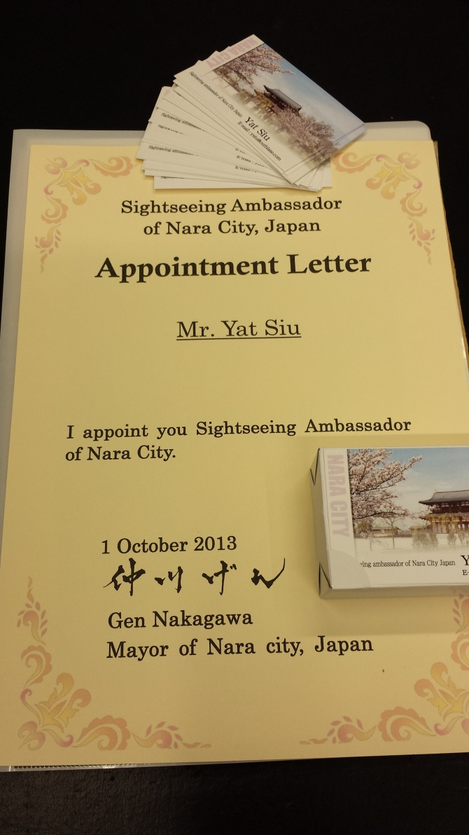 Tourism Ambassador for the City of Nara